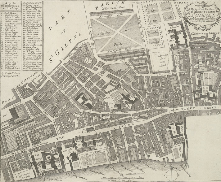 A mapp of the parishes of St. Clements Danes, St. Mary Savoy; with the Rolls Liberty and Lincolns Inn, taken from the last survey with corrections and additions (1720)